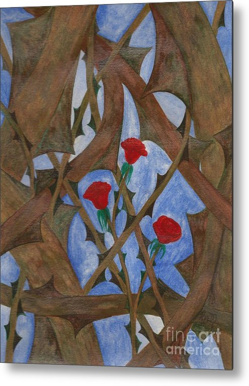 Roses Metal Print featuring the painting It's Complicated by Robert Meszaros
