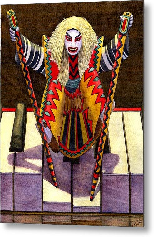 Kabuki Metal Print featuring the painting Kabuki Chopsticks 1 by Catherine G McElroy