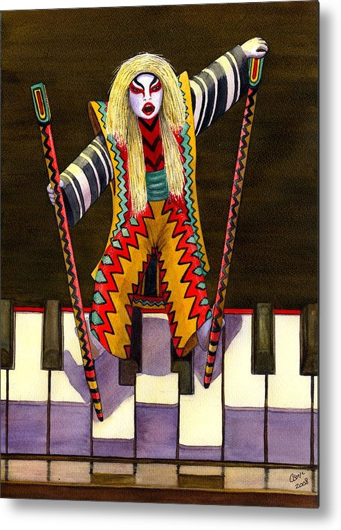 Kabuki Metal Print featuring the painting Kabuki Chopsticks 2 by Catherine G McElroy