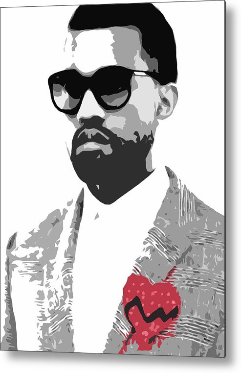 Black Metal Print featuring the digital art Kanye West by Mike Maher