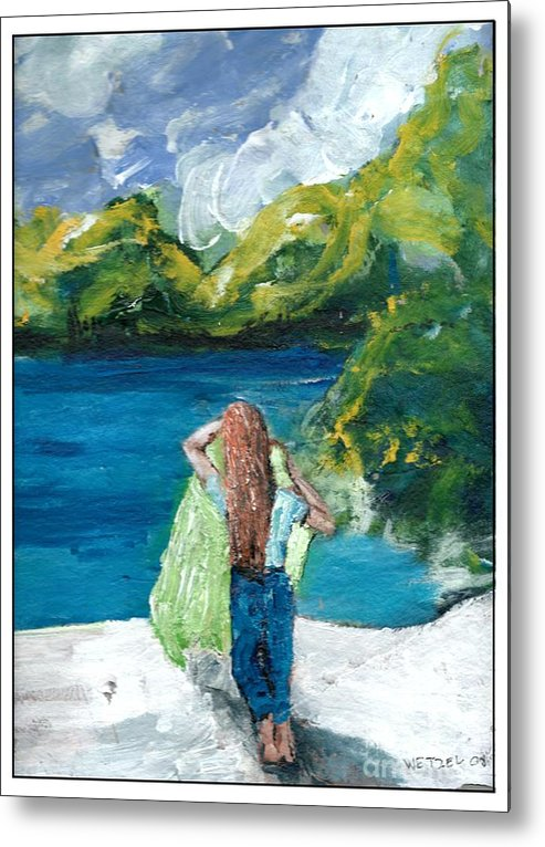 Lady Metal Print featuring the painting Lady By The Lake by Joseph Wetzel