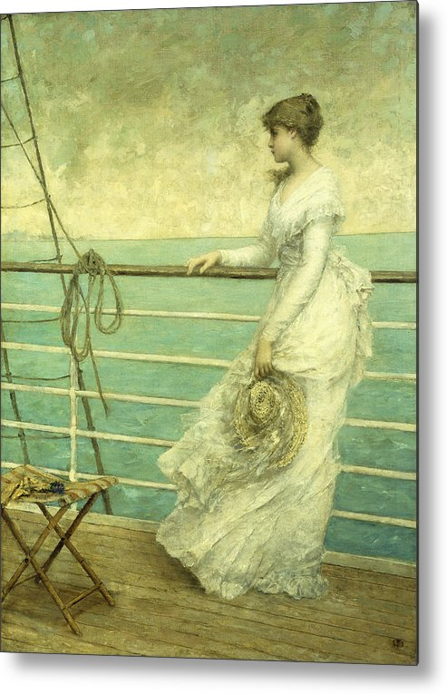 Lady; Deck; Ship; Sea; Seascape; Rigging; Ropes; Boat; Travel; Travelling; Journey; Transport; Young; Youth; Romantic; Pretty; Beauty; Beautiful; White; Lace; Dress; Demure; Lost In Thought; Pensive; Thoughtful; Hat; Stool; Seat; Victorian; On Deck Metal Print featuring the painting Lady On The Deck Of A Ship by French School