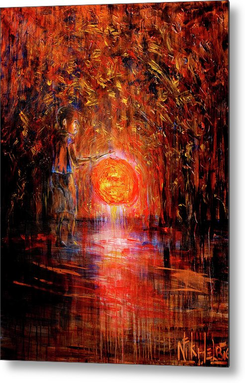 Lantern Metal Print featuring the painting Light by Nik Helbig