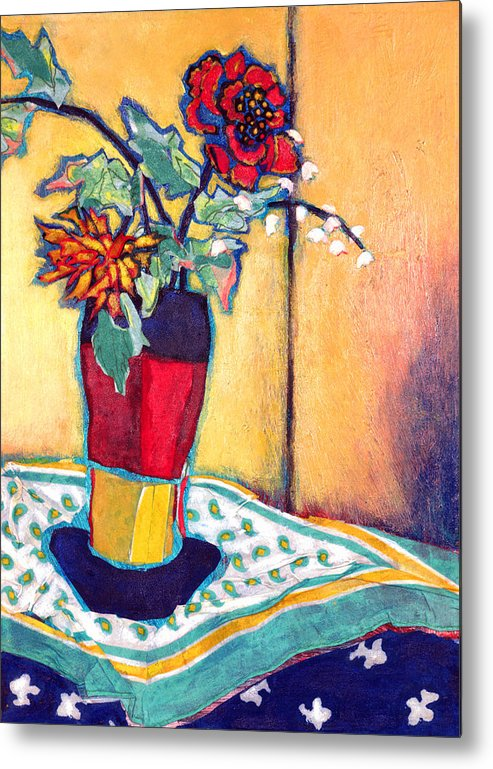 Flowers In A Vase Metal Print featuring the mixed media Lilies Of The Valley by Diane Fine