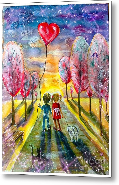 Love Metal Print featuring the painting Love Is In The Air by Katerina Kovatcheva