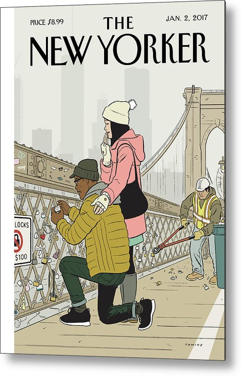Love Metal Print featuring the painting Love Locks by Adrian Tomine