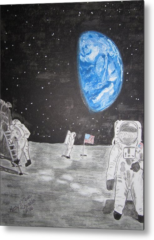 Stars Metal Print featuring the painting Man On The Moon by Kathy Marrs Chandler