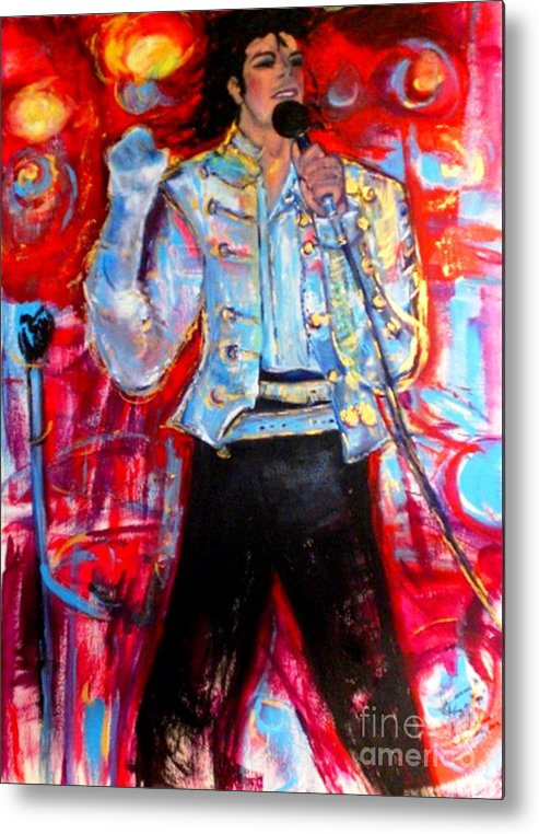 Michael Jackson Metal Print featuring the painting Michael Jackson I'll Be There by Helena Bebirian