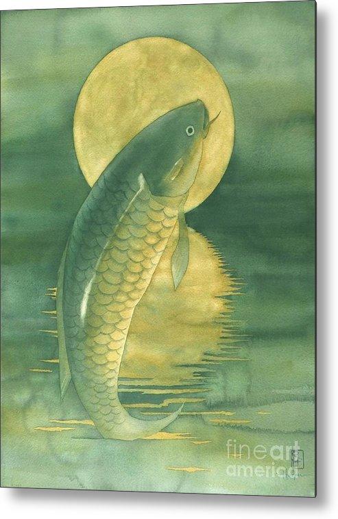 Watercolor Metal Print featuring the painting Moon Koi by Robert Hooper