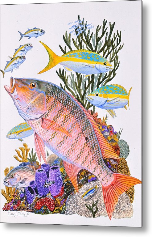 Mutton Metal Print featuring the painting Mutton Snapper Reef by Carey Chen