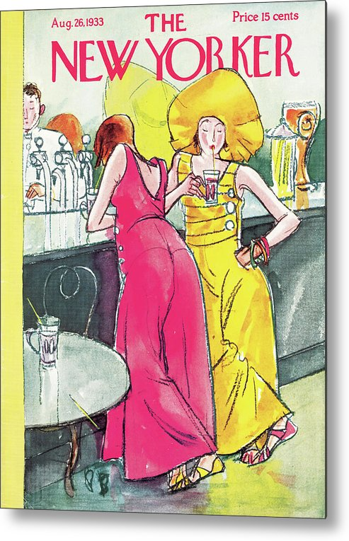 Single Women Woman Bar Speakeasy Flappers Flapper Drinks Drinking Alcohol Bartender Baggy Pants Perry Barlow Pba Perry Barlow Pba Artkey 48371 Metal Print featuring the painting New Yorker August 26th, 1933 by Perry Barlow