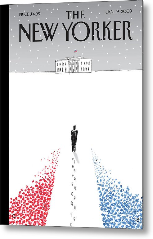 Politics Metal Print featuring the painting New Yorker January 19th, 2009 by Guy Billout
