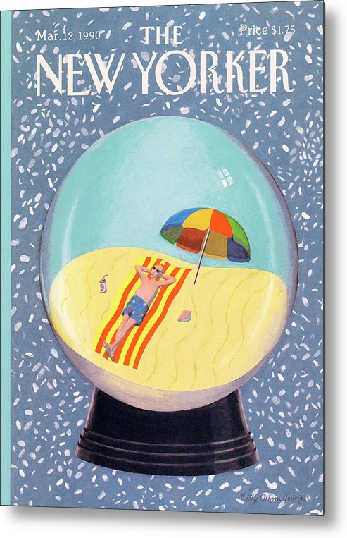 (a Man Relaxes On The Beach Inside A Snow Globe Metal Print featuring the painting New Yorker March 12th, 1990 by Kathy Osborn