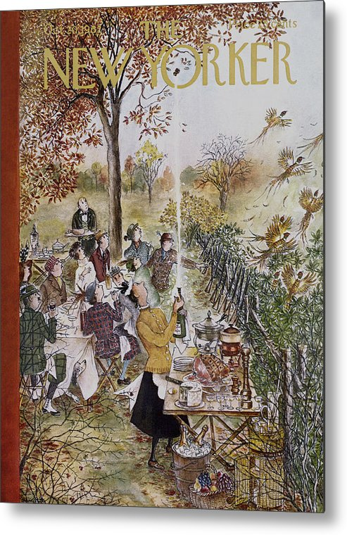 (a Hunting Group At A Picnic Is Interrupted When A Maid Bursts Open A Champagne Bottle That Frightens Away A Flock Of Pheasant.) Animals Wild Birds Dining Food Ham Cheese Fruit Drinking Alcohol Wine High Class Cuisine Leisure Games Hunting Relaxation Nature Enviornment Relationships Friends Men Women Mary Petty Mary Petty Mpe Artkey 47048 Metal Print featuring the painting New Yorker October 20th, 1962 by Mary Petty