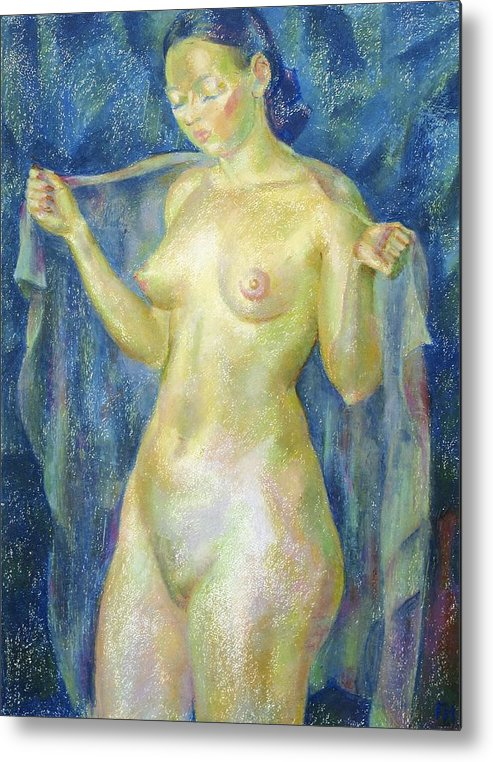 Nude Metal Print featuring the painting Nu 12 by Leonid Petrushin