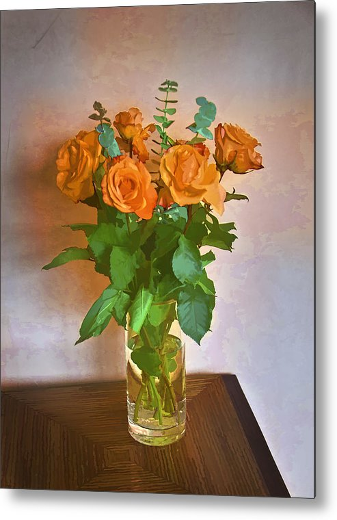 Roses Metal Print featuring the photograph Orange And Green by John Hansen