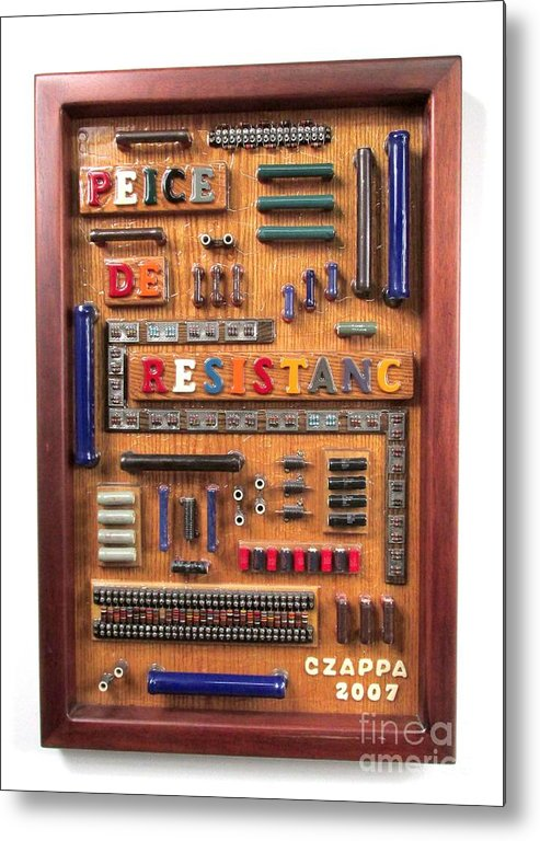 Electronic Parts Metal Print featuring the sculpture Peice De Resistanc #116 by Bill Czappa