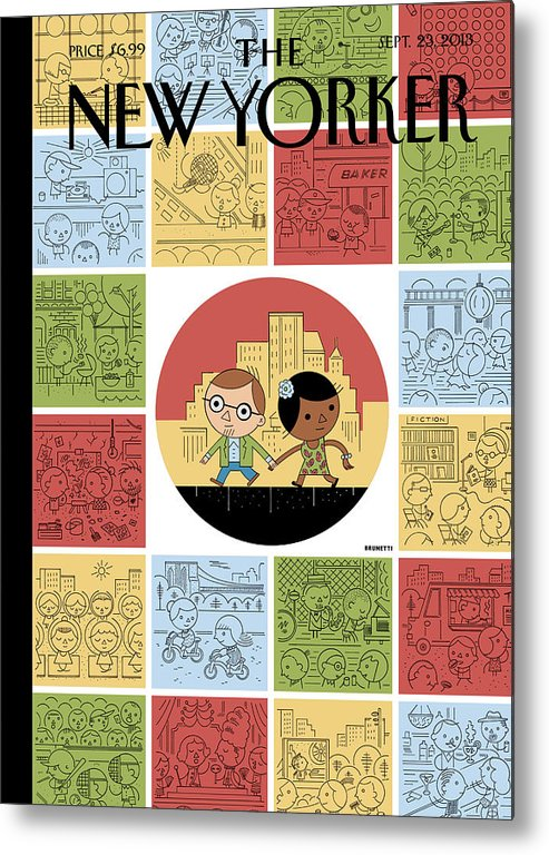 Goings On About Town Metal Print featuring the painting Goings On About Town by Ivan Brunetti