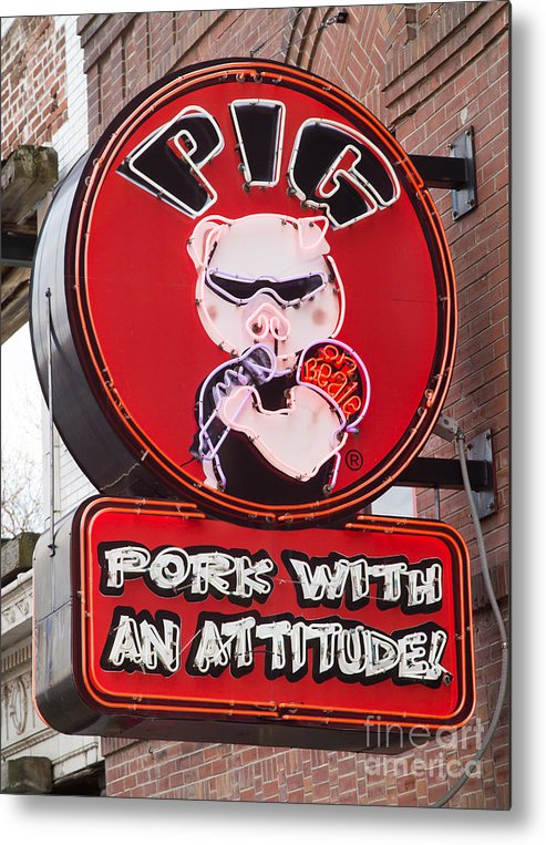 Clarence Holmes Metal Print featuring the photograph Pig On Beale by Clarence Holmes