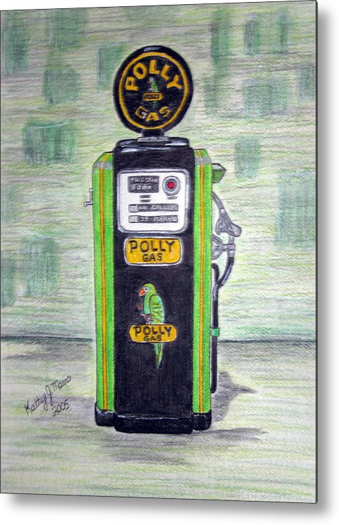 Parrot Metal Print featuring the painting Polly Gas Pump by Kathy Marrs Chandler