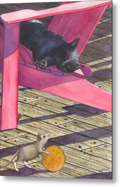 Cat Metal Print featuring the painting Precarious by Catherine G McElroy