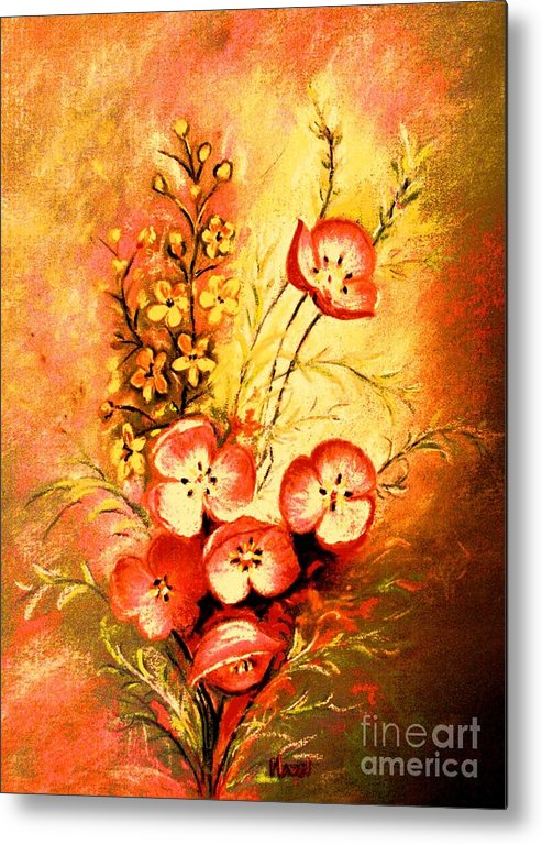 Floral Bouquet Metal Print featuring the painting Radiant Faces by Hazel Holland