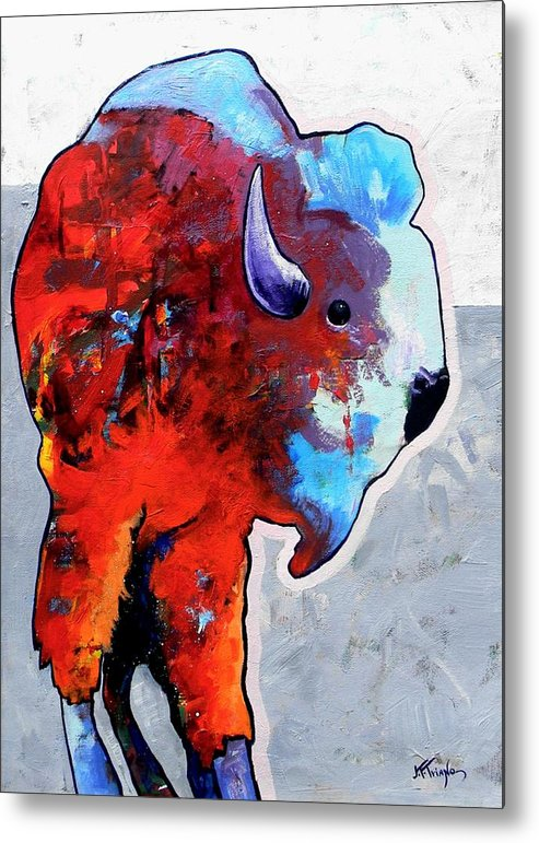 Wildlife Metal Print featuring the painting Rainbow Warrior Bison by Joe Triano