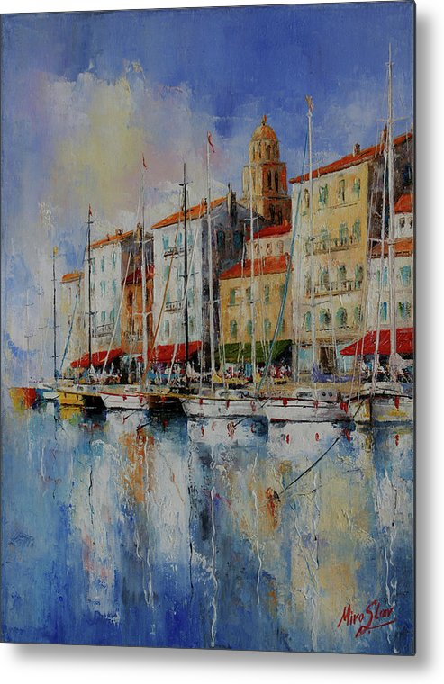 Seascapes Metal Print featuring the painting Reflection - St.tropez - France by Miroslav Stojkovic