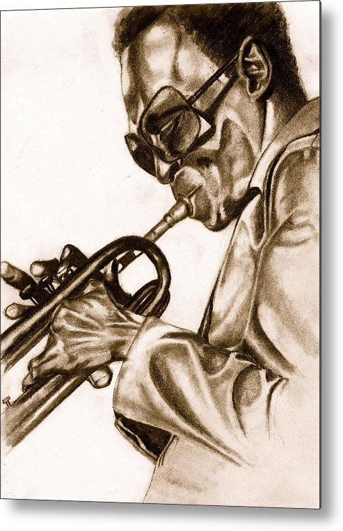 Miles Davis Metal Print featuring the drawing Round Midnight by Dallas Roquemore