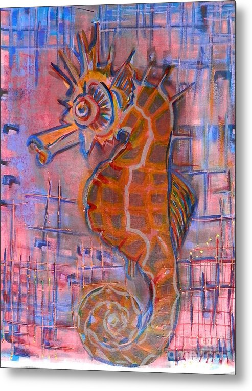 Sea Life Metal Print featuring the painting Seahorse Sandy by L Cecka