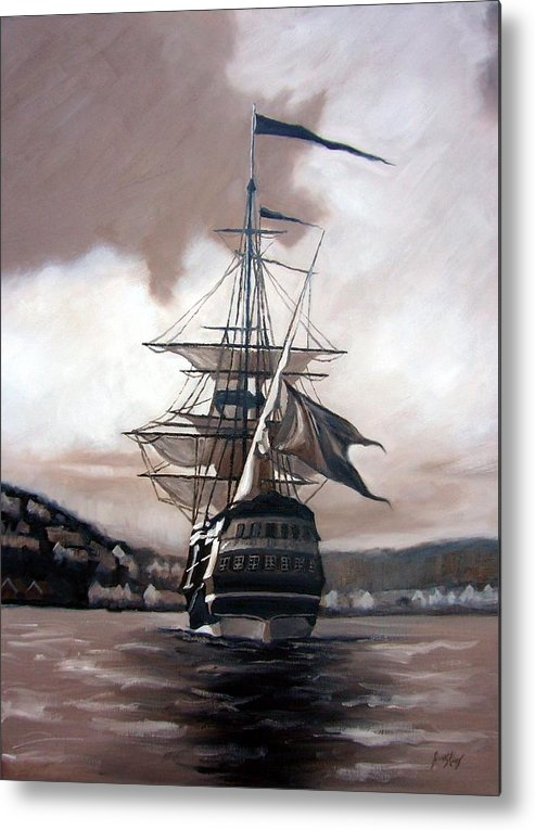 Pirate Ship Metal Print featuring the painting Ship In Sepia by Janet King