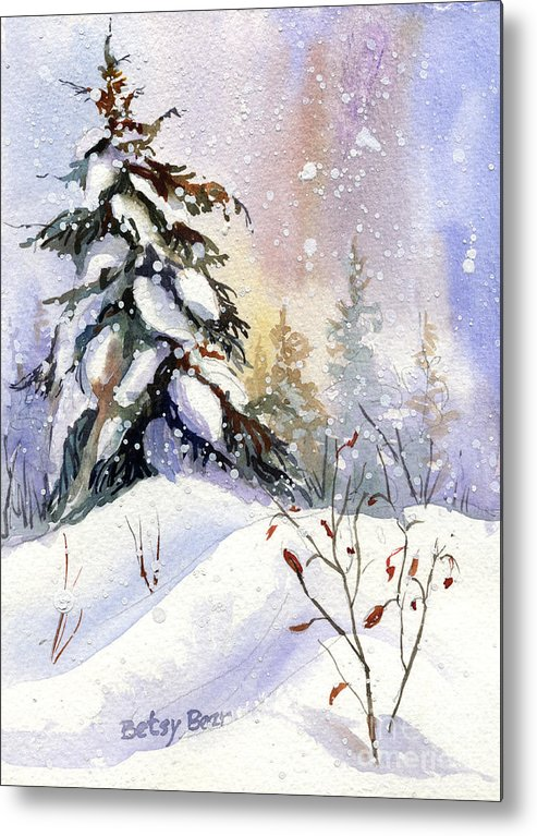 Spruce Metal Print featuring the painting Snow Spruce I by Betsy Bear