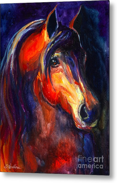 Arabian Horse Metal Print featuring the painting Soulful Horse Painting by Svetlana Novikova