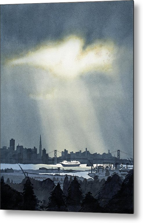 Bay Area Metal Print featuring the painting Spotlight On The Bay by Janaka Ruiz