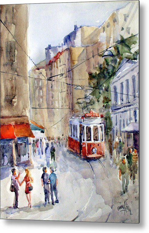 Tram Metal Print featuring the painting Square Tunel - Beyoglu Istanbul by Faruk Koksal