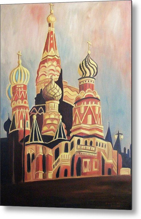 Original Metal Print featuring the painting St Basil's Cathedral Moscow by Suzanne Marie Leclair