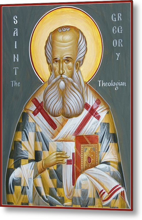 Orthodox Icon Metal Print featuring the painting St Gregory The Theologian by Julia Bridget Hayes