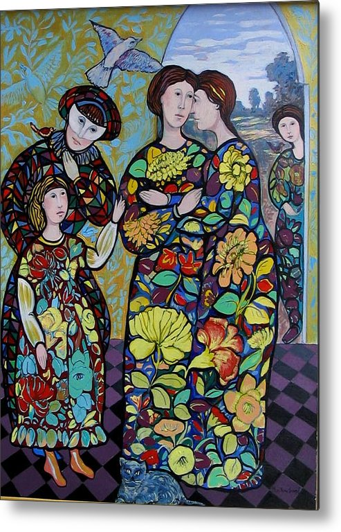 Stain Glass. Ladies. Women Metal Print featuring the painting Stain Glass Women by Marilene Sawaf