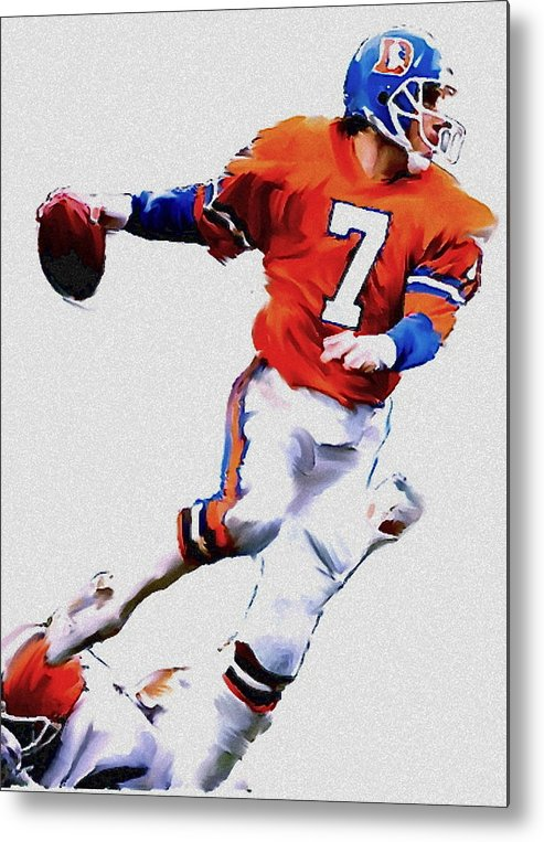 John Elway Metal Print featuring the painting The Drive John Elway by Iconic Images Art Gallery David Pucciarelli