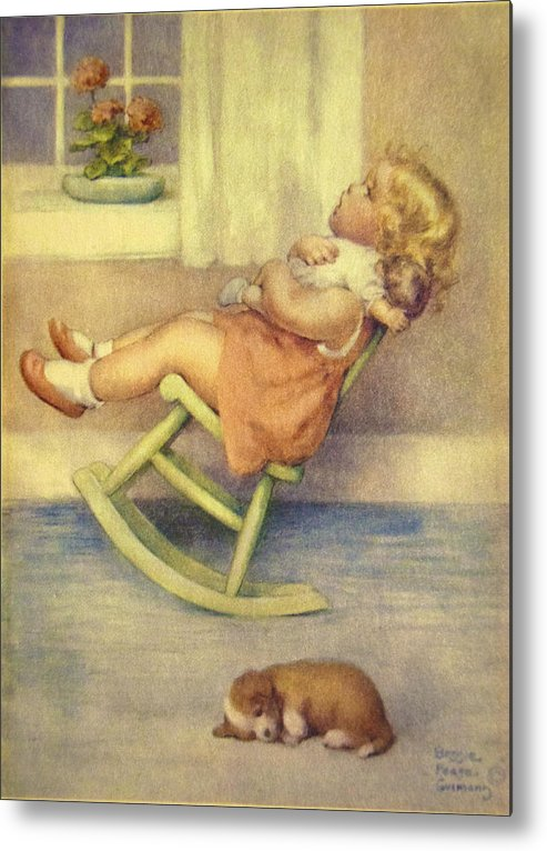 Bessie Pease Gutmann Metal Print featuring the digital art The Lullaby by Bessie Pease Gutmann