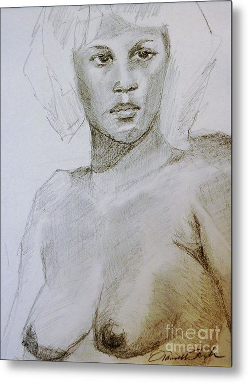 Woman Metal Print featuring the drawing The Model by Tansill Stough