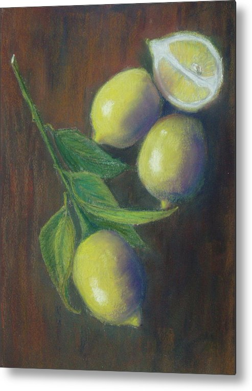 Lemons Metal Print featuring the painting Three And A Half Lemons by Ellen Minter