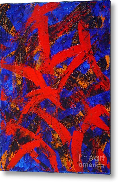 Abstract Metal Print featuring the painting Transitions With Blue And Red by Dean Triolo