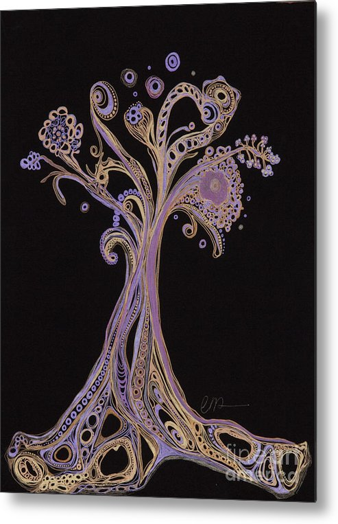 Tree Metal Print featuring the drawing Trees 12 by Christina Naman