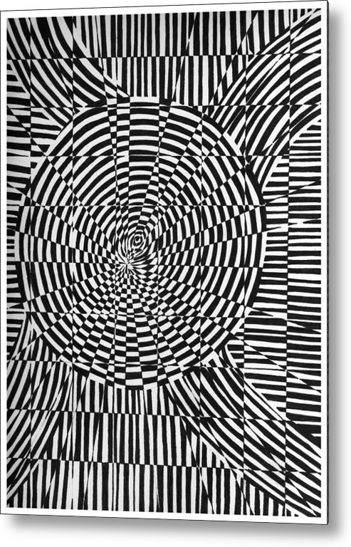 Abstract Metal Print featuring the drawing Unraveled by Crystal Hubbard