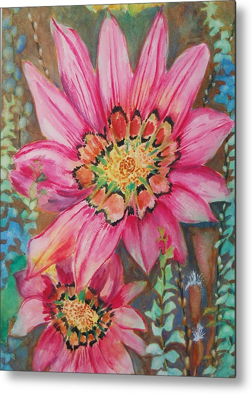 Abstract Floral Metal Print featuring the painting Untitled by Henny Dagenais