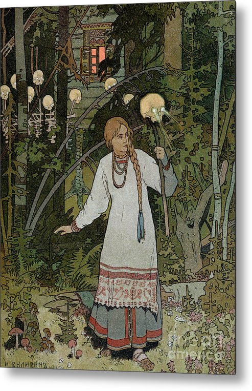 Horror Metal Print featuring the painting Vassilissa In The Forest by Ivan Bilibin