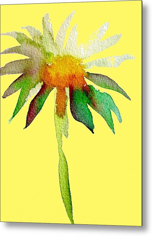 Daisy Metal Print featuring the painting Yellow Daisy by Sacha Grossel