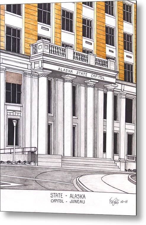 State Capitols Buildings Drawings Metal Print featuring the drawing Alaska State Capitol by Frederic Kohli