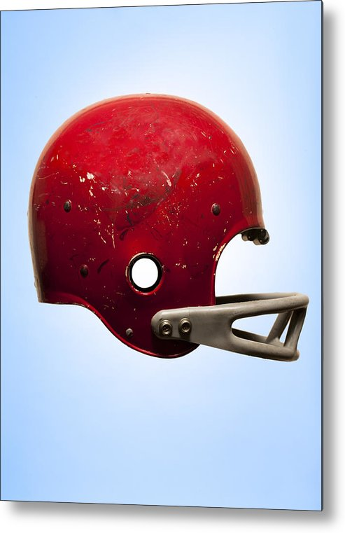 Vertical Metal Print featuring the photograph Antique Football Helmet On Blue Background by Chris Parsons